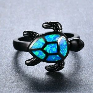 Black Gold Sea Turtle Blue Fire Opal Ring Size 10